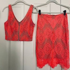 ANGL 2 pc Neon Coral Lace Crop Top / Pencil Skirt